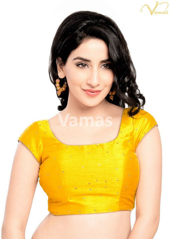 Yellow Color Dupion Silk Stitched Blouse - x-202sl-yellow