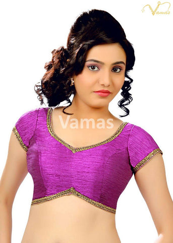 Brinjal Color Dupion Silk Stitched Blouse - x-203-brinjal