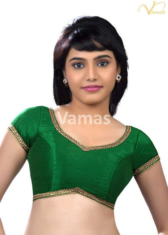 Green Color Dupion Silk Stitched Blouse - x-203-green