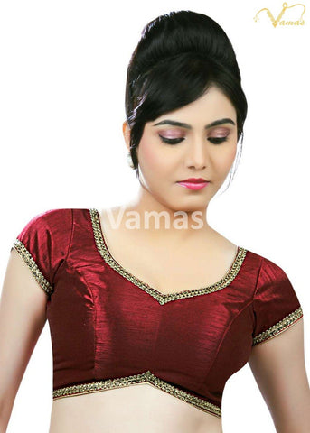 Maroon Color Dupion Silk Stitched Blouse - x-203-maroon