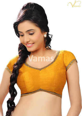 Musturd Color Dupion Silk Stitched Blouse - x-203-mustard