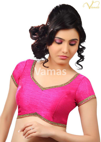 Pink Color Dupion Silk Stitched Blouse - x-203-pink