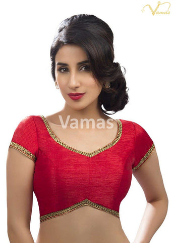 Red Color Dupion Silk Stitched Blouse - x-203-red