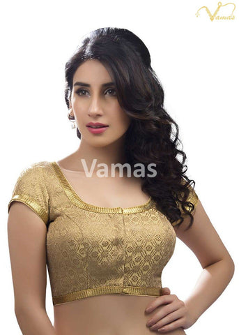 Gold Color Dupion Silk Stitched Blouse - x-262-gold