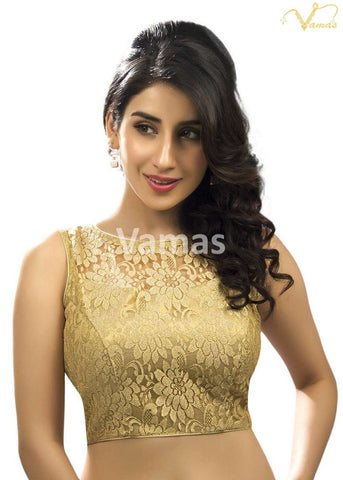 Gold Color Fancy Net Stitched Blouse - x-269ns-gold