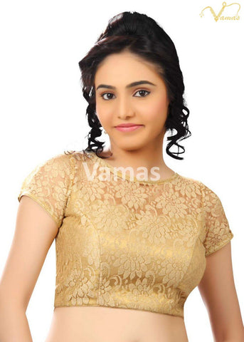 Gold Color Fancy Net Stitched Blouse - x-269sl-gold