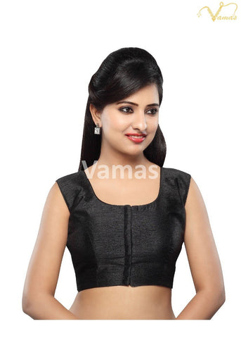 Black Color Dupion Silk Stitched Blouse - x-274ns-black