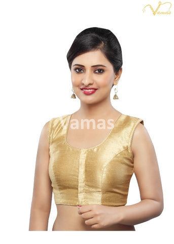 Gold Color Dupion Silk Stitched Blouse - x-274ns-gold