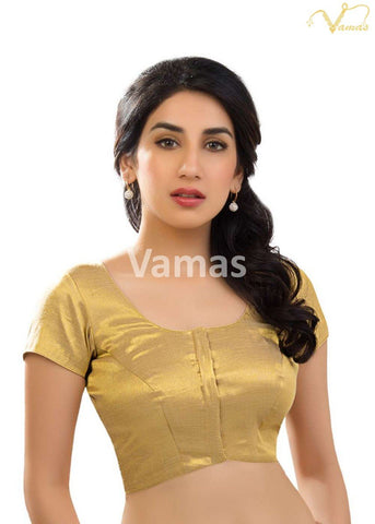 Gold Color Shimmer Stitched Blouse - x-289-gold
