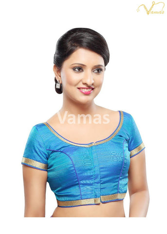 Blue Color Silk Stitched Blouse - x-366-blue