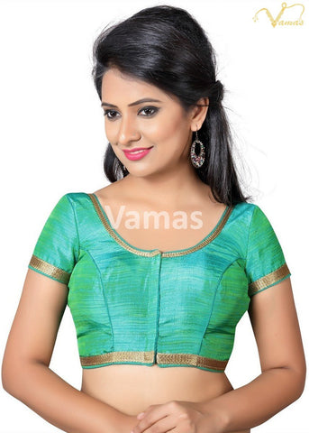 Green Color Silk Stitched Blouse - x-366-green