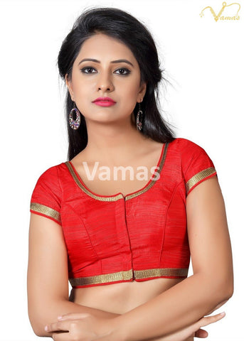 Red Color Silk Stitched Blouse - x-366-red