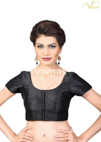 Black Color Dupion Silk Stitched Blouse - x-372sl-black