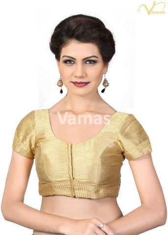 Gold Color Dupion Silk Stitched Blouse - x-372sl-gold