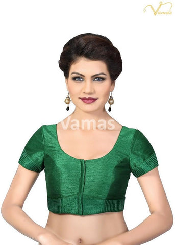 Green Color Dupion Silk Stitched Blouse - x-372sl-green