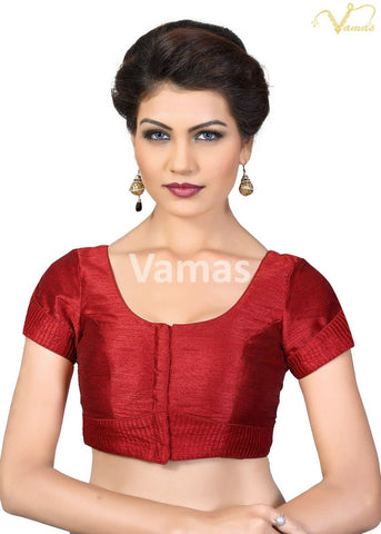 Maroon Color Dupion Silk Stitched Blouse - x-372sl-maroon