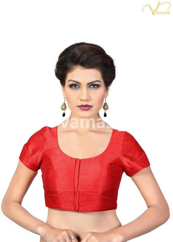 Red Color Dupion Silk Stitched Blouse - x-372sl-red