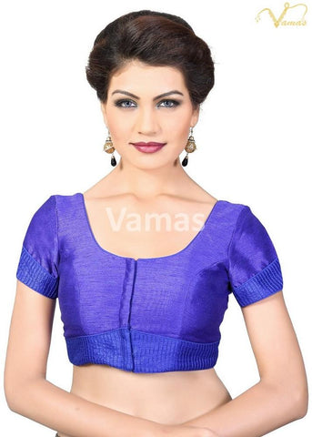 Royal Blue Color Dupion Silk Stitched Blouse - x-372sl-royalblue