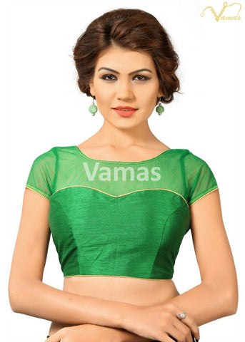 Green Color Dupion Silk Stitched Blouse - x-373-green