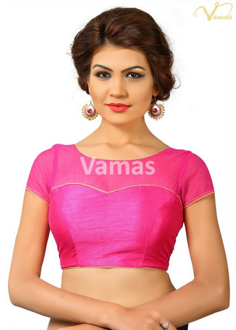 Pink Color Dupion Silk Stitched Blouse - x-373-pink