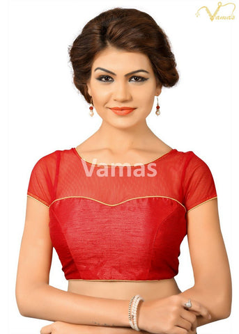 Red Color Dupion Silk Stitched Blouse - x-373-red