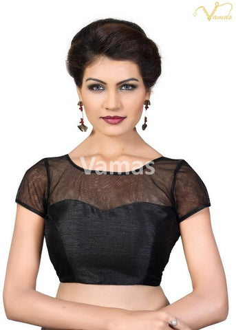 Black Color Dupion Silk Stitched Blouse - x-373sl-black