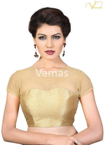 Gold Color Dupion Silk Stitched Blouse - x-373sl-gold