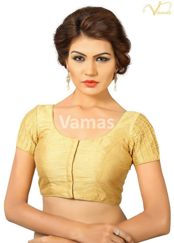 Gold Color Dupion Silk Stitched Blouse - x-374-gold