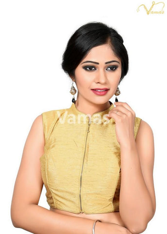 Gold Color Dupion Silk Stitched Blouse - x-389ns-gold