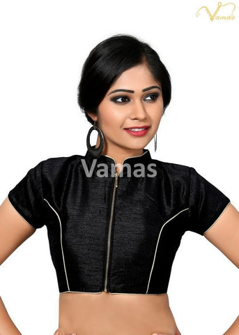 Black Color Dupion Silk Stitched Blouse - x-389sl-black