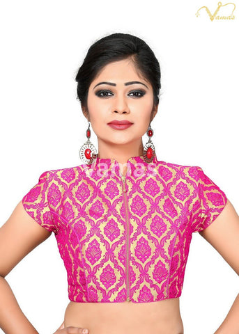 Pink Color Brocade Stitched Blouse - x-407-pink