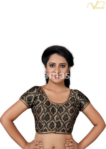 Black Color Brocade Stitched Blouse - x-407sl.nz-black