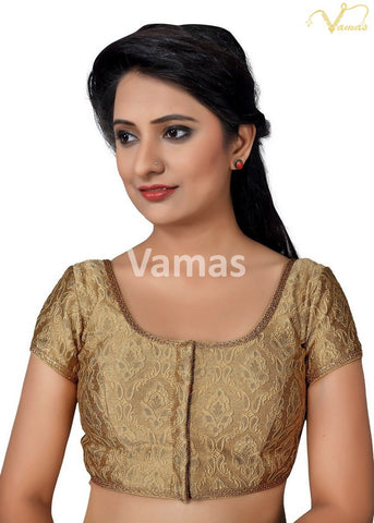 Gold Color Brocade Stitched Blouse - x-407sl.nz-gold