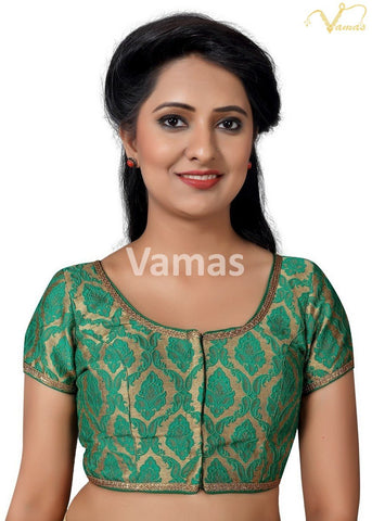Green Color Brocade Stitched Blouse - x-407sl.nz-green
