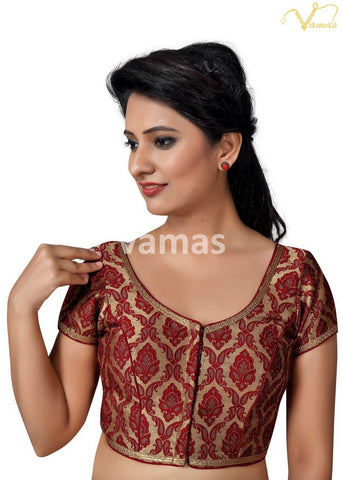Maroon Color Brocade Stitched Blouse - x-407sl.nz-maroon