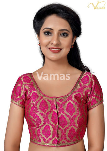Pink Color Brocade Stitched Blouse - x-407sl.nz-pink