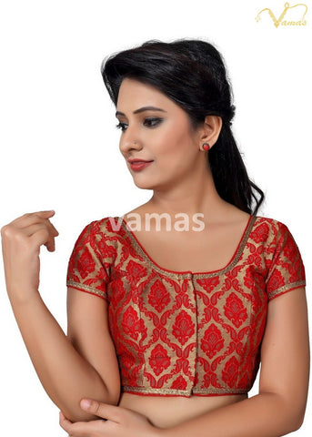 Red Color Brocade Stitched Blouse - x-407sl.nz-red