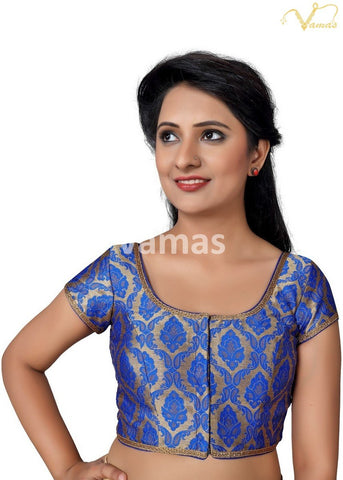 Royal Blue Color Brocade Stitched Blouse - x-407sl.nz-royal-blue