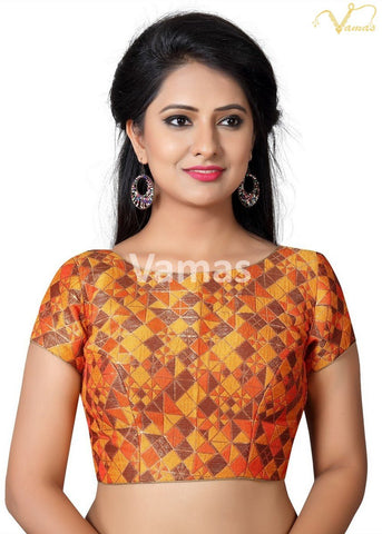 Multi Color Brocade Stitched Blouse - x-454-multi