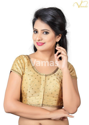 Gold Color Dupion Silk Stitched Blouse - x-455sl-gold