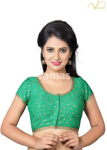 Green Color Dupion Silk Stitched Blouse - x-455sl-green