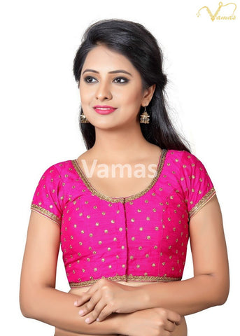 Pink Color Dupion Silk Stitched Blouse - x-455sl-pink