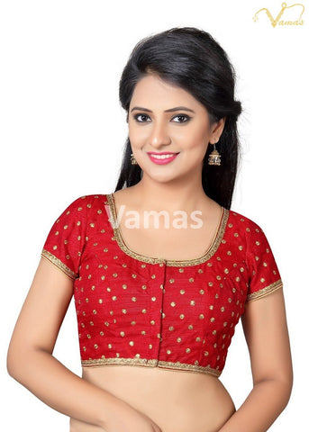 Red Color Dupion Silk Stitched Blouse - x-455sl-red