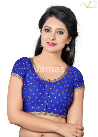 Royal Blue Color Dupion Silk Stitched Blouse - x-455sl-royal-blue