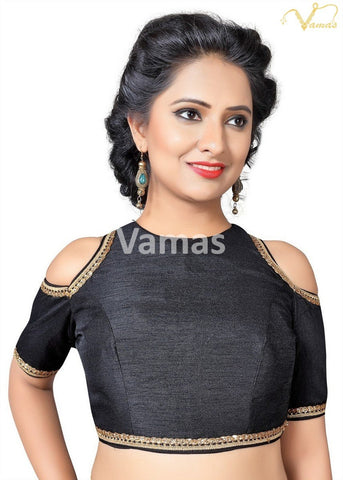 Black Color Dupion Silk Stitched Blouse - x-467-black
