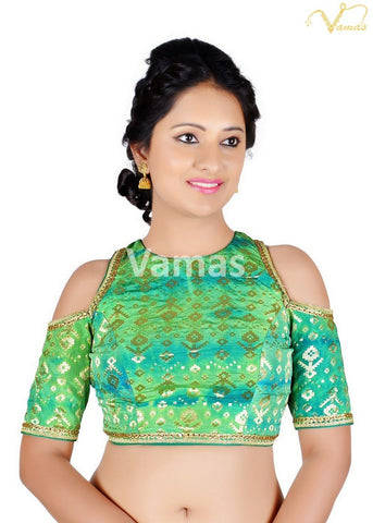 Green Color Brocade Stitched Blouse - x-468sl-green