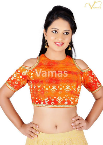 Orange Color Brocade Stitched Blouse - x-468sl-orange