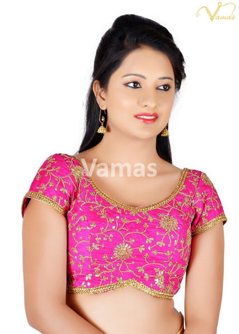 Pink Color Brocade Stitched Blouse - x-486sl-pink