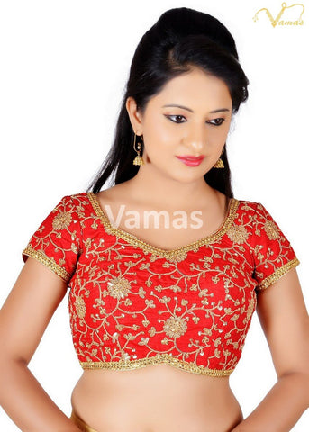 Red Color Brocade Stitched Blouse - x-486sl-red