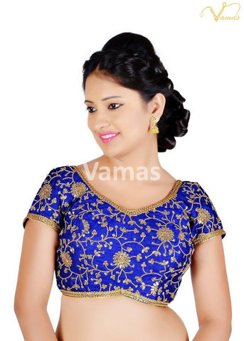 Royal Blue Color Brocade Stitched Blouse - x-486sl-royal-blue